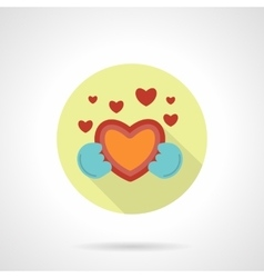 Give heart icon flat round style vector image