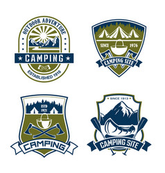 icons for camping site mountain adventure vector image vector image