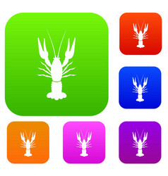 lobster set collection vector image vector image