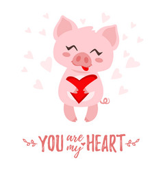 pig with heart in hand vector image vector image