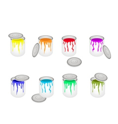Set of Opened Buckets with Six Paint Colors vector image vector image