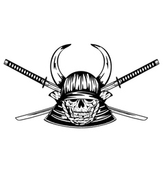 skull in helmet with horns and samurai sword vector image
