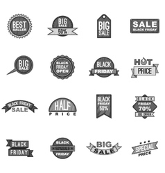 Black Friday label icons set gray monochrome style vector image vector image