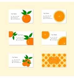 Business Cards with Ripe Juicy Orange Fruit vector image vector image