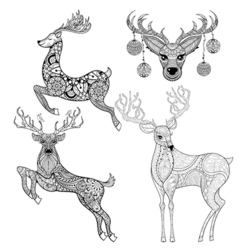 Christmas Reindeer set in patterned style for vector image vector image