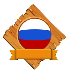 flag of russia in round frame vector image vector image