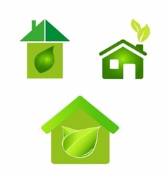 green eco houses home logo icon vector image vector image