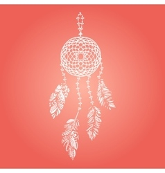 Hand drawn white dream catcher with vector image