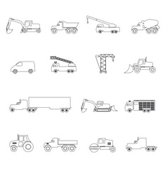 heavy machinery simple outline icons set eps10 vector image