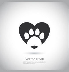 paw print inside heart icon vector image
