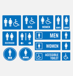 restroom signs and toilet icons vector image