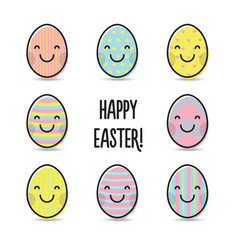 Smiley colorful easter eggs greeting vector