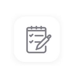 survey quiz line icon vector image vector image