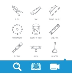 Trowel for tile saw and brush tool icons vector image