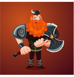 viking with axe angry red bearded antique warrior vector image
