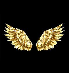Gold polygonal wings vector