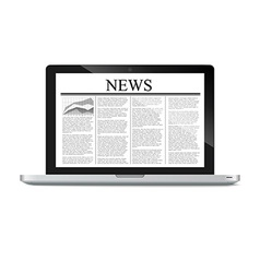laptop with news article on screen vector image vector image