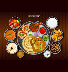 traditional cuisine and food meal thali of vector image
