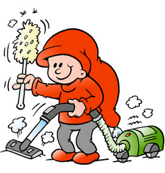 cartoon of an happy elf with a vacuum cleaner vector image vector image