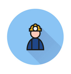 coal miner icon on round background vector image