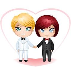 Gay Grooms Getting Married 3 vector image