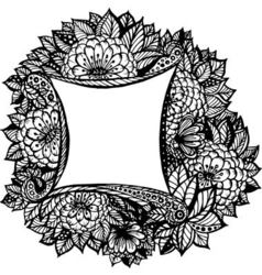 Gorgeous Floral Frame with Ramkas Leaves vector image vector image