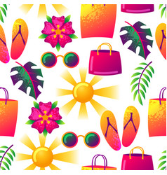 Summer seamless pattern with colorful elements vector