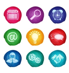 Watercolor business icons round vector image