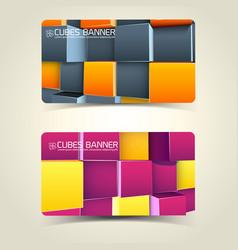 3d cubes banners vector