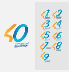 40 year anniversary celebration set template vector