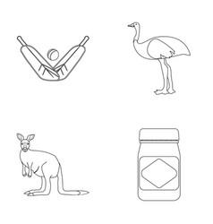 A game of cricket an emu ostrich a kangaroo a vector