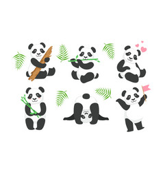 Adorable pandas characters set cute animals in vector