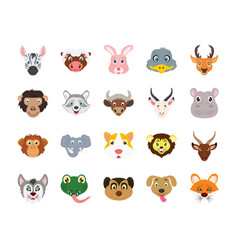Animals flat colored icons set vector