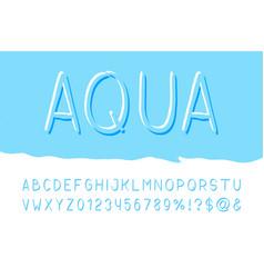 aqua brush sans serif font hand drawn artistic vector image