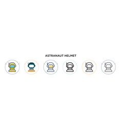 Astranaut helmet icon in filled thin line outline vector