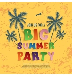 Big summer party poster template vector