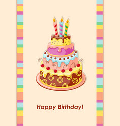 Birthday card with cake tier candles and cherry vector