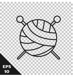 Black line yarn ball with knitting needles icon vector