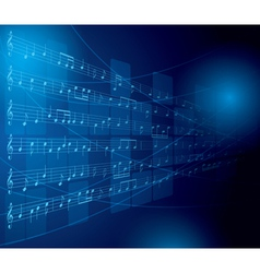 blue musical background with notes and squares vector image