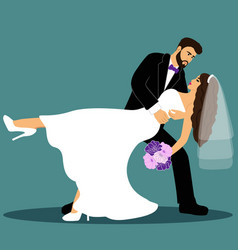 Bride and groom a couple is dancing wedding card vector