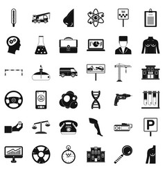 business computer icons set simple style vector image