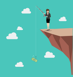business woman fishing money on hill vector image