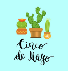 cacti in pots in flat style and cinco de mayo vector image