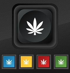 Cannabis leaf icon symbol set of five colorful vector
