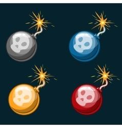 Cartoon Dangerous multicolored Bombs vector