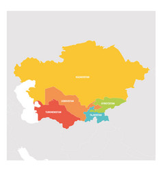 central asia region colorful map of countries in vector image