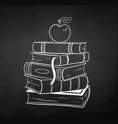 chalk drawn of apple on books vector image
