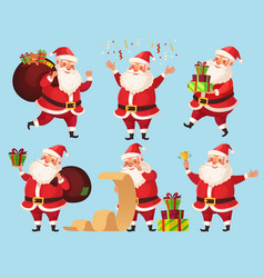 christmas santa cartoon character funny santa vector image