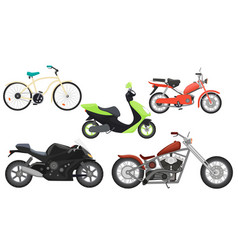Classic color flat realistic motorcycle moped vector