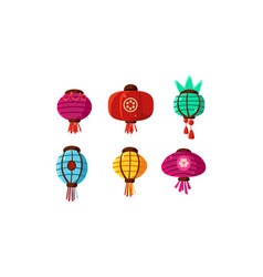 colorful chinese lanterns set festival paper vector image